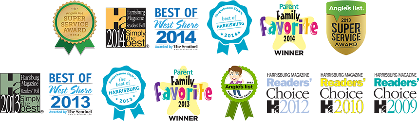 Best Veterinarian Awards from Harrisburg Magazine, The Sentinel, Central Penn Parent, Susquehanna Style, and Angie's List